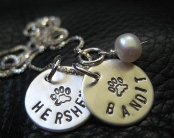 Hand Stamped Charm, Pet Necklace, Jewelry, Personalized, Silver Paws Necklace, Personalize, Custom Order