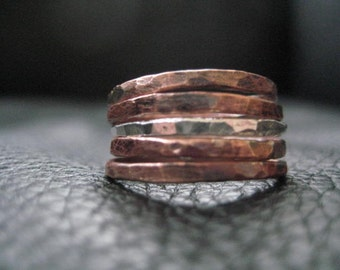 Stacking Rings Set Copper And Silver Wedding Ring Bands