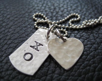 Hand Stamped Valentine Heart XO Charms Necklace