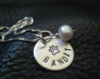 "9/16"" 22g Hand Stamped Pet Paw Charms Necklace Hand Stamped Jewelry - ONE DISC - One Sterling Silver Disc - Personalized Jewelry - Charm"