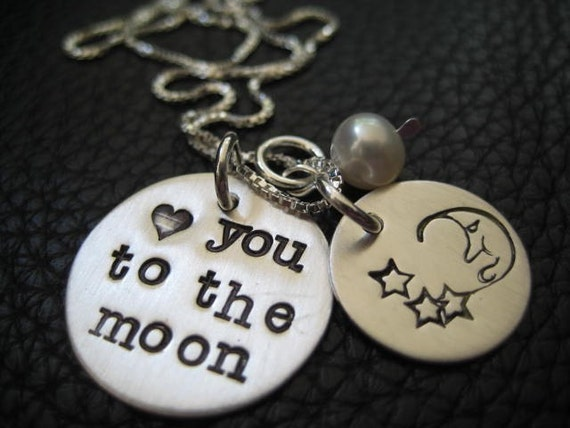 Hand Stamped Jewelry Mother's Day Heart You To The Moon Necklace