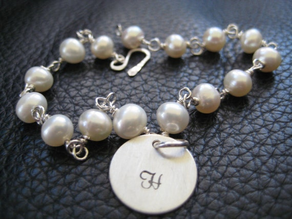 hand stamped charm bracelet personalized pearl