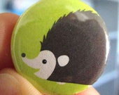 Hedgehog on Green Pinback Button or Magnet