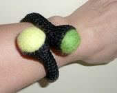 Textile bracelet jewelry crochet Valentine gift for her black green yellow purple felted wool bracelet handmade custom gift for teenager
