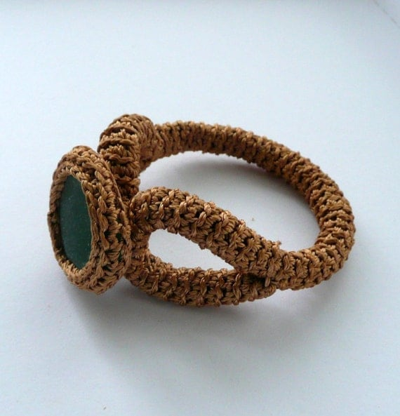 Copper  bracelet with green sea glass - crocheted