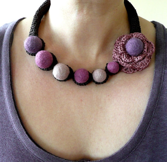 Purple pink  brown necklace with flower - crochet and felted wool- handmade Birthday summer autumn custom color gift for her Mom Mum
