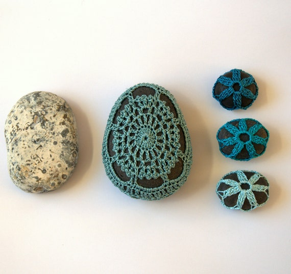 Lace stone pebble Beach Wedding favor Easter crochet  large Aquamarine blue gray gift her Mother's day home decoration decor shabby chic