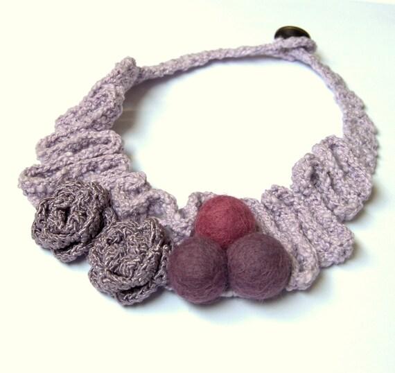 Textile bib necklace crochet felted pastel purple collar linen flower wool handmade Birthday autumn hostess gift for her chic bohemian Mom