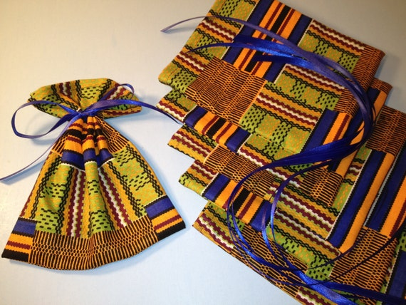 Wedding Gifts South Africa: African Print Fabric Mini Gift Bags 6 Ribbon Tied Favor