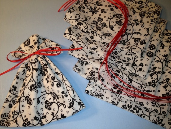Midnight Garden, Mini Fabric Gift Bags, 6 Ribbon Tied Favor Treat Bags, Little Cloth Supply Bags, Gift Wrap, Party Favor Bags