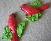 1970s Miller Chalkware Red Green Holiday Winter Cardinals
