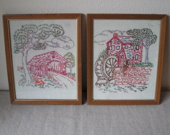 Vintage Hand Embroidered Needlework Covered Bridge Old Mill Wall Hangings Set of 2