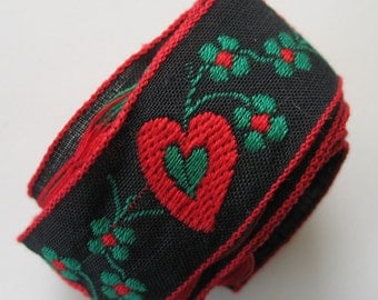 Tyrolean Embroidered Red and Green Flowers and Hearts Fabric Trim Tape
