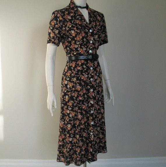 Elaine Benes Black Flower Print Dress XS S