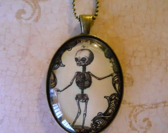 Creepy skeleton oddity necklace