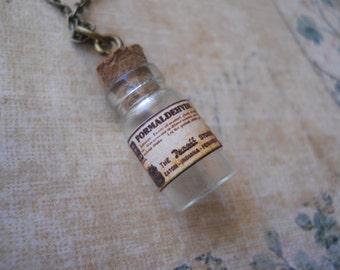 Formaldehyde poison embalmers bottle necklace