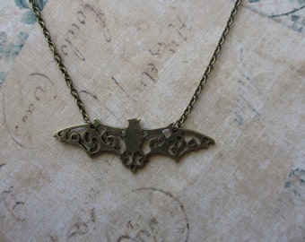 Bats in the belfry -Bronze bat necklace
