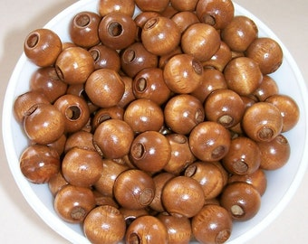 12 MM Brown Wood Beads 100 Pieces