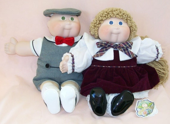 Vintage Pair Cabbage Patch Kids - Porcelain Collection FREE SHIPPING OBO