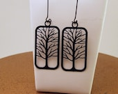 Tall Tree Black Frame Filigree  Earrings from MadrinDesigns