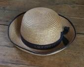 Vintage French Ocean Liner Straw Braid Hat