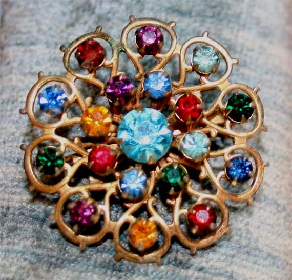 RAINBOW COLORS vintage brooch with beautiful  rhinestones  turquoise, red, orange blue wlv SPRING gift for her