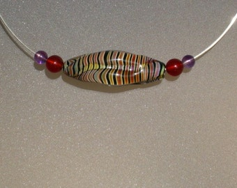 Aries (3/21-4/20) & Pisces (2/19-3/20) Red Carnelian and Amethyst Retro Rainbow Striped Bead Neck Ring