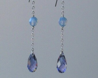 Cornflower Blue and Light Purple Swarovski Crystal and Sterling Chain Earrings