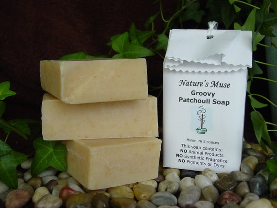 Groovy Patchouli Soap, vegan friendly, 5 to 6 oz bar, only essential oils used to scent
