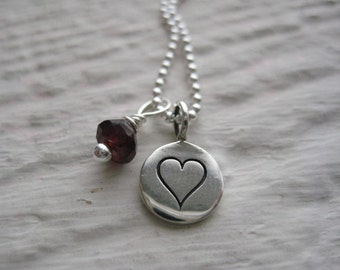 Silver Heart Tag Necklace- Sterling Silver, Garnet