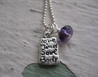 Love Mind Soul Body Necklace- Sterling Silver, Chain, Amethyst, Charm, Gemstone