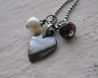 The Simple Things Necklace - Sterling Silver, Garnet, Freshwater Pearl, Oxidized, Gemstone