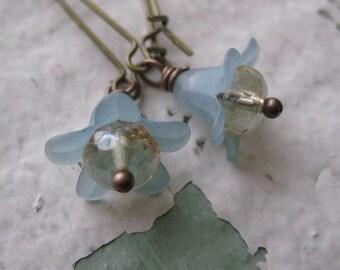 Blue Belle Earrings, Flower Beads, Brass