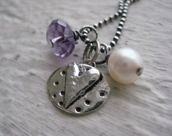 Truly Yours Necklace- Sterling Silver Oxidized, Rustic Heart Charm, Amethyst, Freshwater Pearl