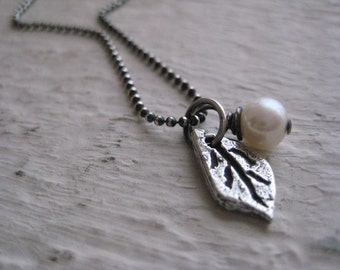 Leaf Necklace- Sterling Silver, Freashwater Pearl, Chain, Rustic, Oxidized, Nature, Charm
