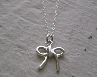 Silver Bow Necklace- Sterling Silver