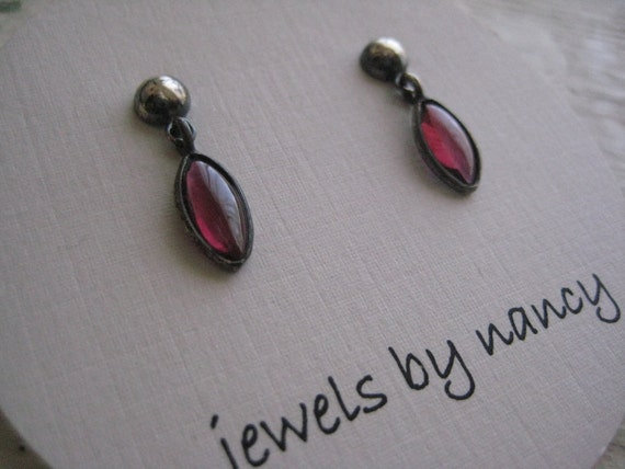 Garnet Drop Post Earrings