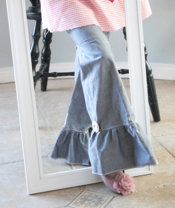 Spring 2012  Chambray Ruffle Jeans- 2 3 4 5 6 7