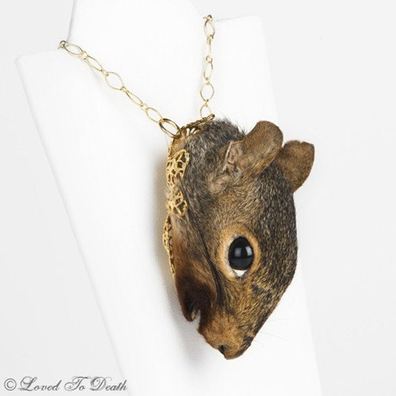 LOVED TO DEATH Gothic Victorian Memento Mori Taxidermy Jewelry Squirrel Head Necklace 14K
