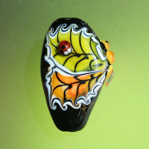 November Butterfly - Handmade Lampwork Beads (SRA)