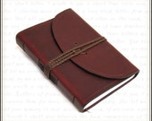 Leather Journal in Burgundy with Lined Paper and Braided Cord Wrap