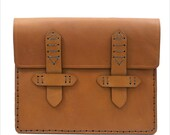 Leather iPad 2 Case with 2 Strap Closure in Tan