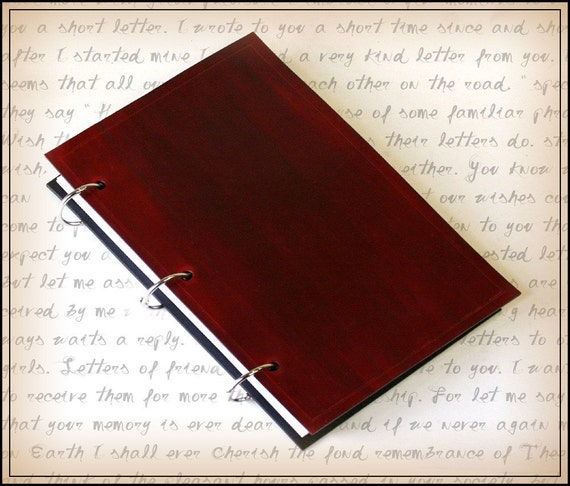 Red Leather Ring Binder Journal For 5x8 Index Cards With Free