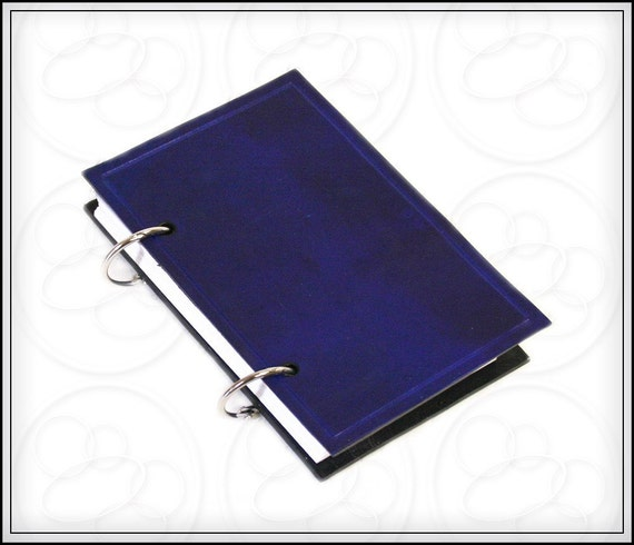 Blue Leather Ring Journal 3x5  with Free Monogramming
