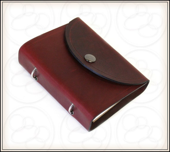 Burgundy Leather Journal Ring Binder For 3x5 Index Cards With
