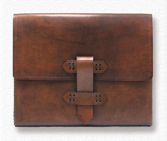 iPad Case Leather in Antique Brown with Baseball Stitch Detail