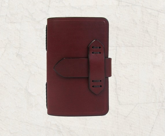 Leather Journal Cover Pocket Size in Brick Red with Free Monogramming