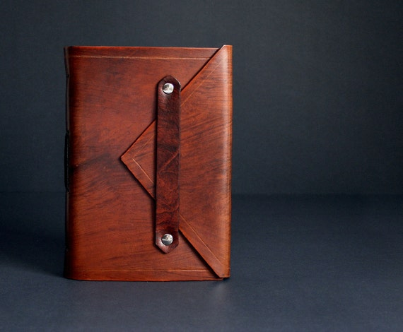 Leather Journal Handbound in Antique Saddle Tan  Envelope Style with Lined Paper