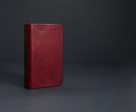 Pocket Leather Journal Handbound in Burgundy with Free Monogramming
