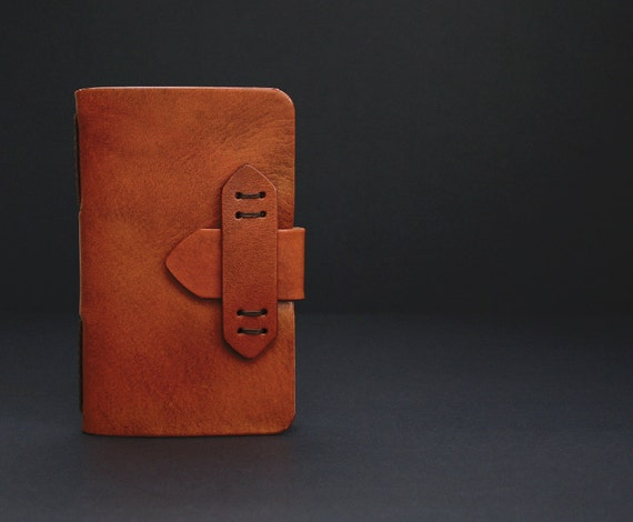 Moleskine Leather Journal Cover Pocket Size in Antique Saddle Tan